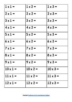 Times Tables Assessment Worksheet