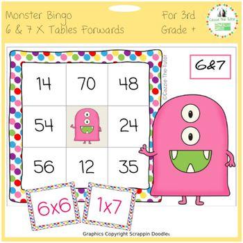 Times Tables Monster Multiplication Bingo: 6 & 7 x Forwards
