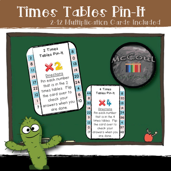 Times Tables Pin-It Practice Cards