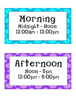 Times of the day - Morning Afternoon Evening Nightime