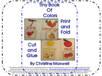 Tiny Book of Colors Print, Fold, Cut and Glue