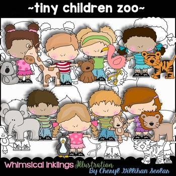 Tiny Children Zoo Clipart Collection