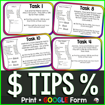 Tip Task Cards {meal tipping}