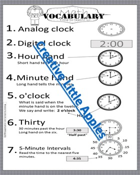 Tips about Time! Print & Go Style! *Ready for the Math Notebook