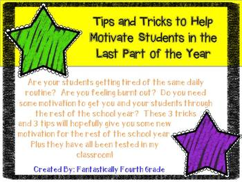 Tips and Tricks for the Last Part of the School Year- FREE
