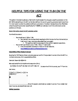 Tips for Using the TI-84 on the ACT