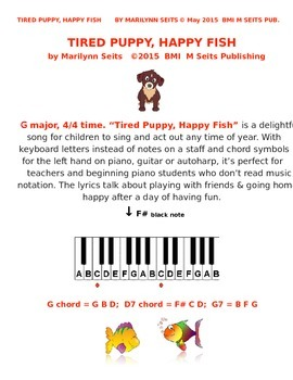Tired Puppy Happy Fish - song for children - uses piano ke