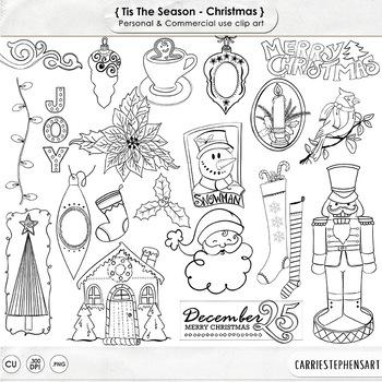 Tis the Season Black Line Art, Christmas Doodle ClipArt, H