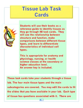 Tissue Lab Task Cards