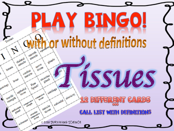 Tissues BINGO! with or without definitions