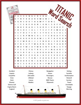 Titanic Word Search Puzzle