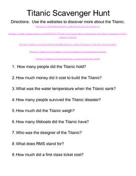 Titanic Online Scavenger Hunt