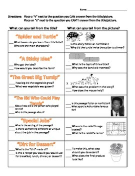 Title and Picture Clues Worksheet