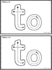 To: An Emergent Sight Word Reader (FREE)