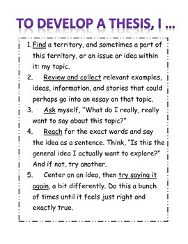 To Develop a Thesis I ... Anchor Chart
