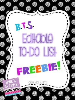 To-Do List FREEBIE ~ Editable!!!!