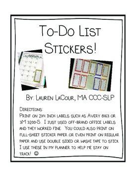 To-Do List Stickers! {{Freebie}}