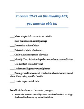 To Earn 19-21 on ACT Reading