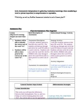 To - Grammar Lesson Plan - Homophones