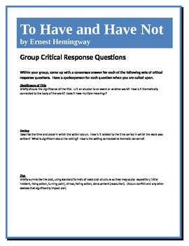 To Have and Have Not - Hemingway - Group Critical Response