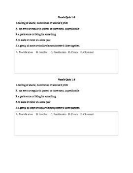 To Kill A Mockingbird 1-3 Vocab Quiz