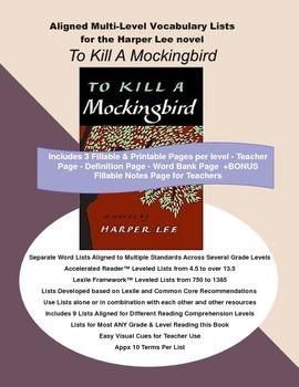 To Kill A Mockingbird Vocabulary Lists, Multi Level, Aligned