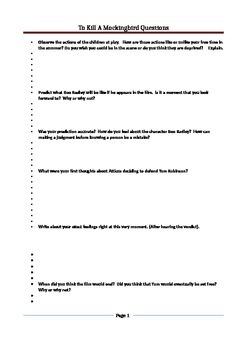 To Kill A Mockingbird Film Questions