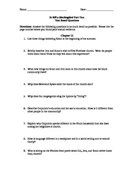 To Kill A Mockingbird Part Two Text Based Questions