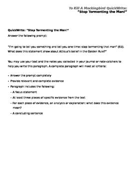To Kill A Mockingbird QuickWrite Prompt