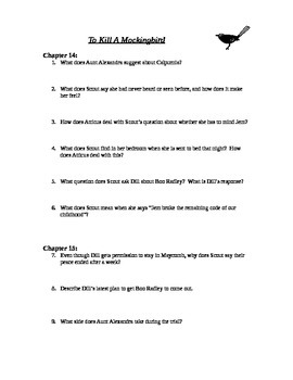 To Kill A Mockingbird chapters 14-15 study guide