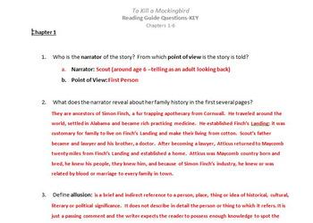 To Kill a Mockingbird Chapters 1 - 6
