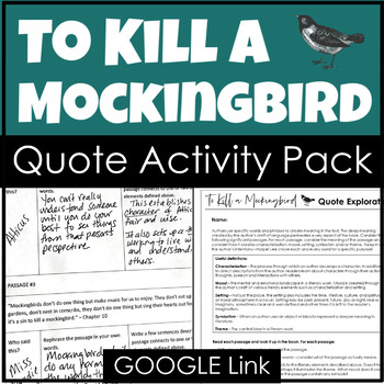 To Kill a Mockingbird Activity With Quote Analysis & Poste