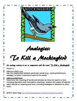 To Kill a Mockingbird Analogy Activity