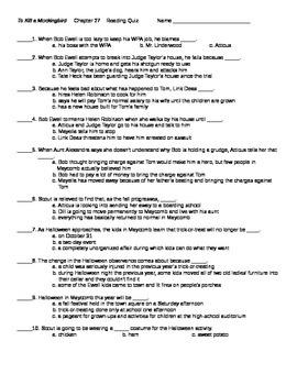 To Kill a Mockingbird Chapter 27 Reading Quiz