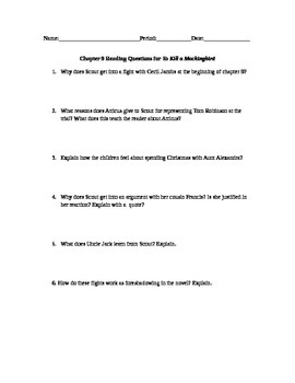 To Kill a Mockingbird Chapter 9 Study Guide Questions