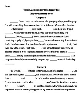 To Kill a Mockingbird Chapter Fill-in Notes
