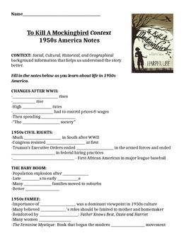 To Kill a Mockingbird Context Lesson: 1950s America