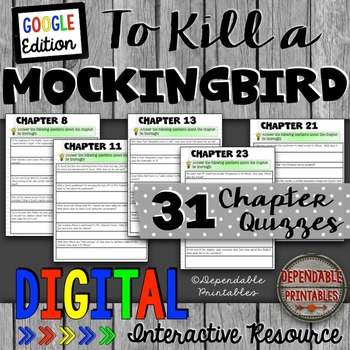 To Kill a Mockingbird: Digital Quizzes Google Edition