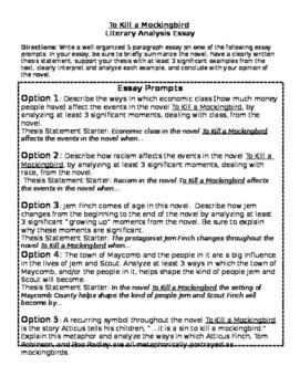To Kill a Mockingbird Essay Prompts w/ Rubric