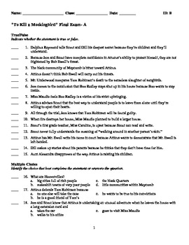 To Kill a Mockingbird Final Exams- TWO versions (A)