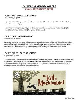 To Kill a Mockingbird Final Test/Exam Study Guide