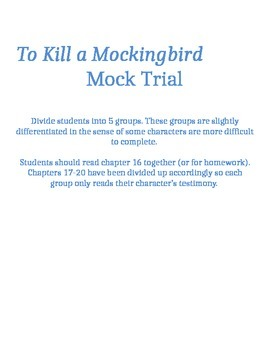 To Kill a Mockingbird Mock Trial Unit