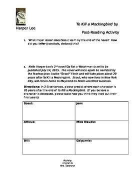 To Kill a Mockingbird Post-Reading Activity