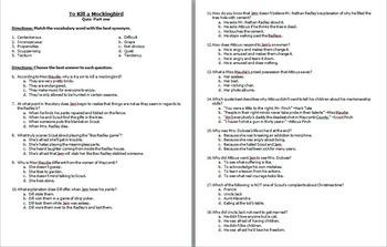 To Kill a Mockingbird Quiz- Chapters 1-11