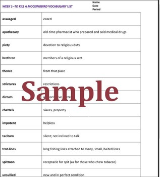To Kill a Mockingbird Vocabulary Exercises, Quizzes and Key