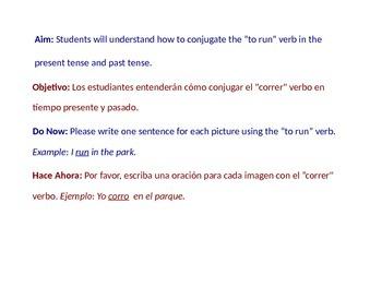 To Run Conjugation - Power Point Presentation