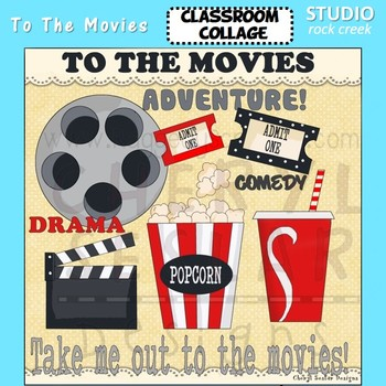 To The Movies color clip art popcorn movie reel ticket sod