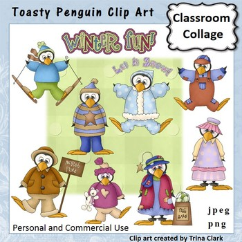 Toasty Penguins Clip Art - Color - personal & commercial use