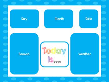 Blue Today Is....Mat, Cards, Labels. Preschool-Kindergarte