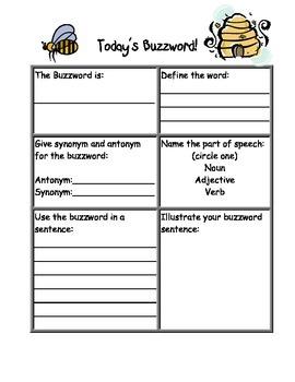 Today's Buzzword  (Dictionary Skills)